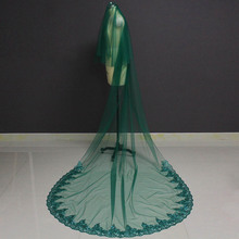 Green Long Wedding Veil 2 T Glitter Lace Cover Face 3 M Arabic Muslim Bridal Veil with Comb Blusher Accessories for Bride