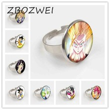 ZBOZWEI Dragon Ball Vegeta Majin Super Saiyan Goku Gohan Trunks Piccolo Star DIY DIY Galss Cabochon แหวนเครื่องประดับ(China)