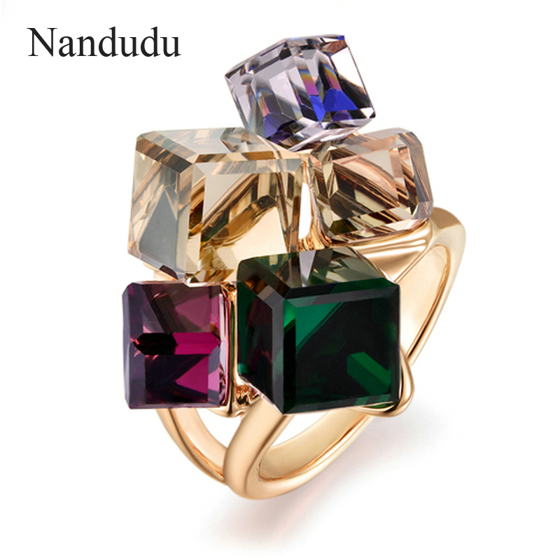 Nandudu AAA Colorful Zirconia Ring Fashion Jewelry Rose Gold Color Austrian Square Crystal Rings for Women Gift R540