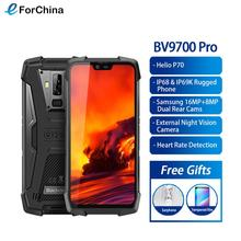 "Blackview bv9700 pro helio p70 6 gb + 128 gb ip68 impermeável telefone móvel 5.84 ""19:9 fhd + ips 4380 mah android 9.0 smartphone nfc"