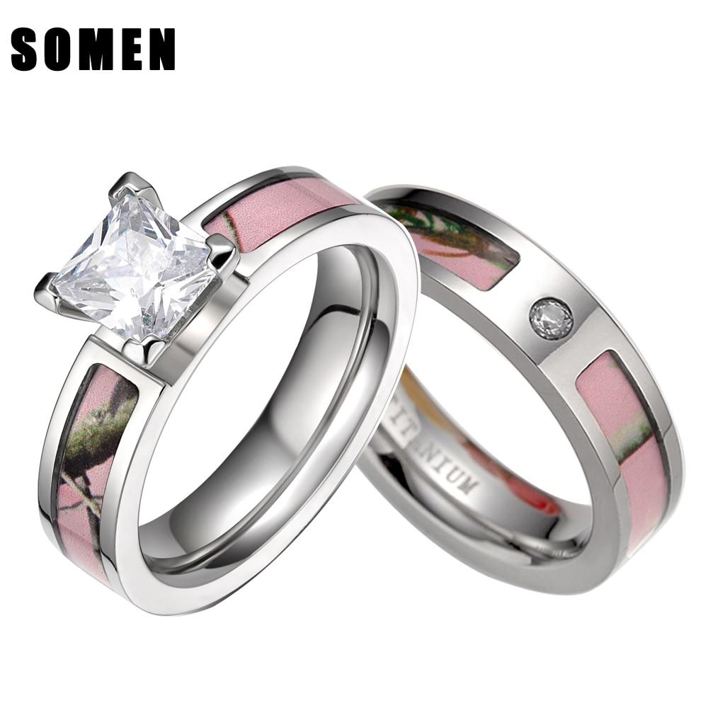 pink tree camo inlay titanium couple ring set women cubic zirconia wedding band men engagement ring - Camo Wedding Rings With Real Diamonds