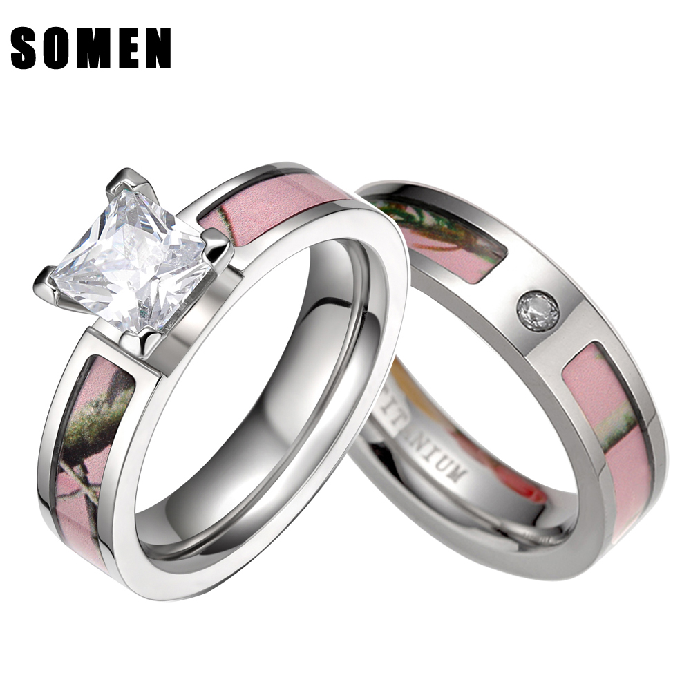 pink tree camo inlay titanium couple ring set women cubic zirconia wedding band men engagement ring - Camouflage Wedding Ring Sets