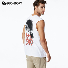 GLO-STORY Mens 2019 New 100% Cotton Fitness Clothing Skull Style Gym Summer Skateboard Casual MBX-8520