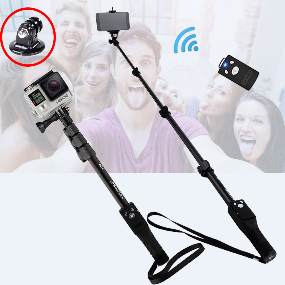 Yunteng 1288 Phone Gopro Hero4 3 2 SJCAM Camera Selfie Stick Bluetooth Self portrait Monopod Self
