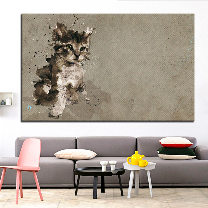 Large Size Printing Oil Painting Cat Wallpaper Wall Painting Decor