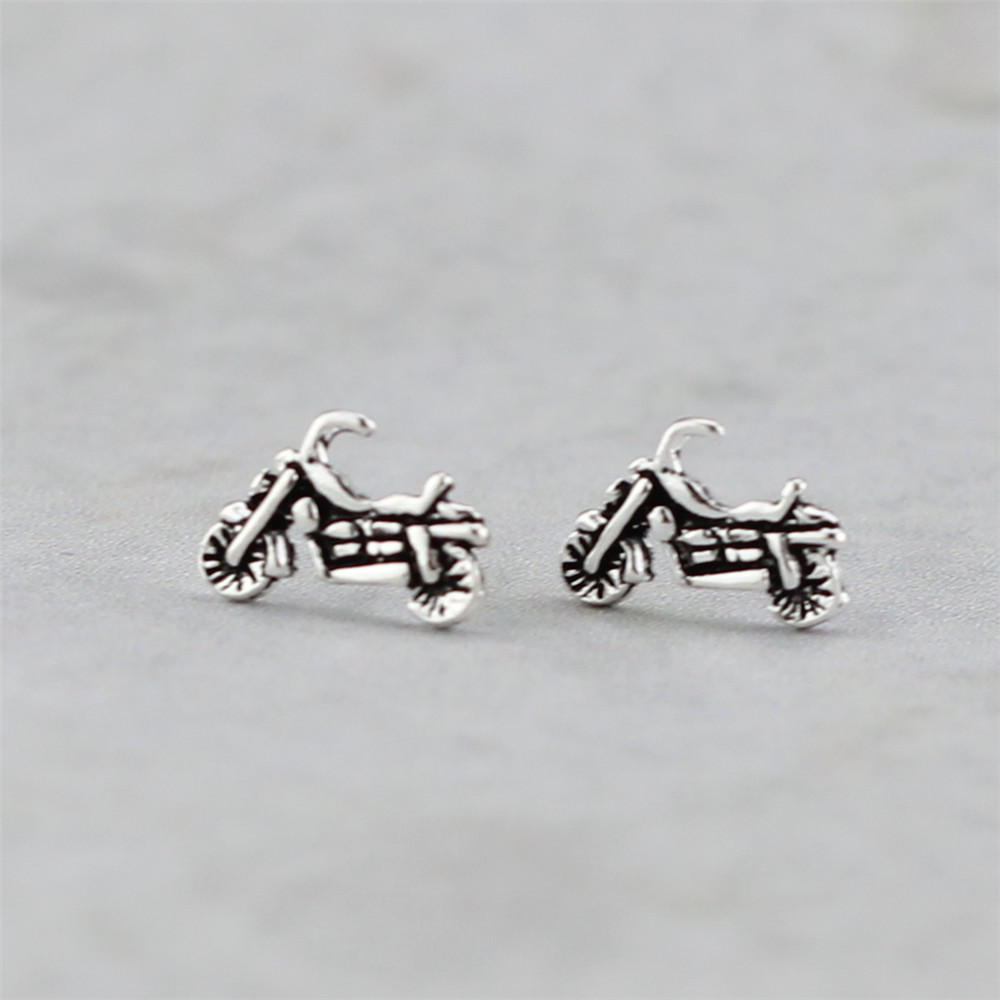 925 Sterling Silver Motorcycle Stud Earrings For Women Original Vintage Style Lady Prevent Allergy Sterling-silver-jewelry