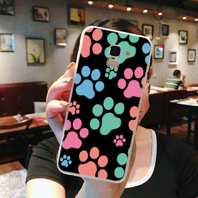 Silicone Phone Case Dog footprint Fashion for Samsung Galaxy j8 j7 j6 j5 j4 j3 Plus Prime 2018 2017 2016 Case Matte Cover in Fitted Cases from Cellphones Telecommunications