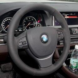 Protector de cuero Artificial negro de trigo brillante para volante de coche, para BMW F10 F11 (Touring) F07 (GT) F12 F13 F06 F01 F02
