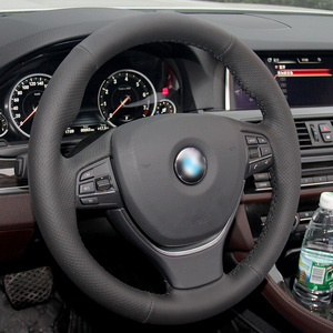 Shining wheat Black Artificial Leather Car Steering Wheel Cover for BMW F10 F11 (Touring) F07 (GT) F12 F13 F06 F01 F02(China)