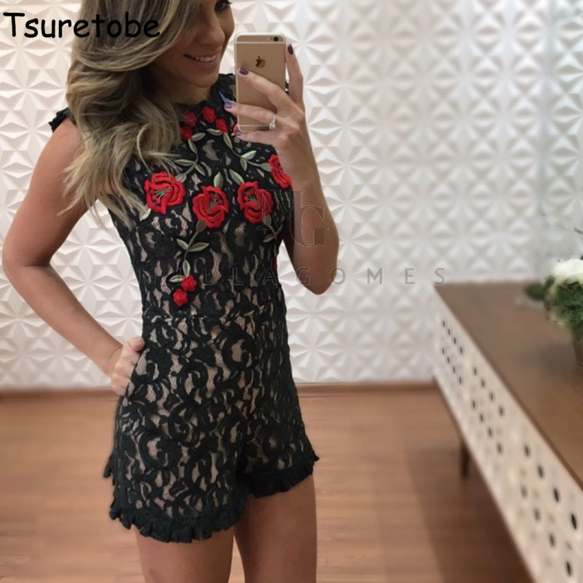 Tsuretobe Women Summer Lace Embroidery Jumpsuit Sleeveless Sexy O-neck Backless Playsuits Zipper Black Lace Floral Playsuits