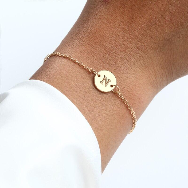 Женские браслеты золотого цвета с буквами, простые регулируемые браслеты, модные ювелирные украшения для подарка, 2019