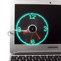 Adjustable USB Gadget USB Clock Fan Desktop LED Light Cooling Gadget With Flexible Cord USB Powered