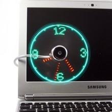 Adjustable USB Gadget Clock Fan Desktop LED Light Cooling with Flexible cord Powered