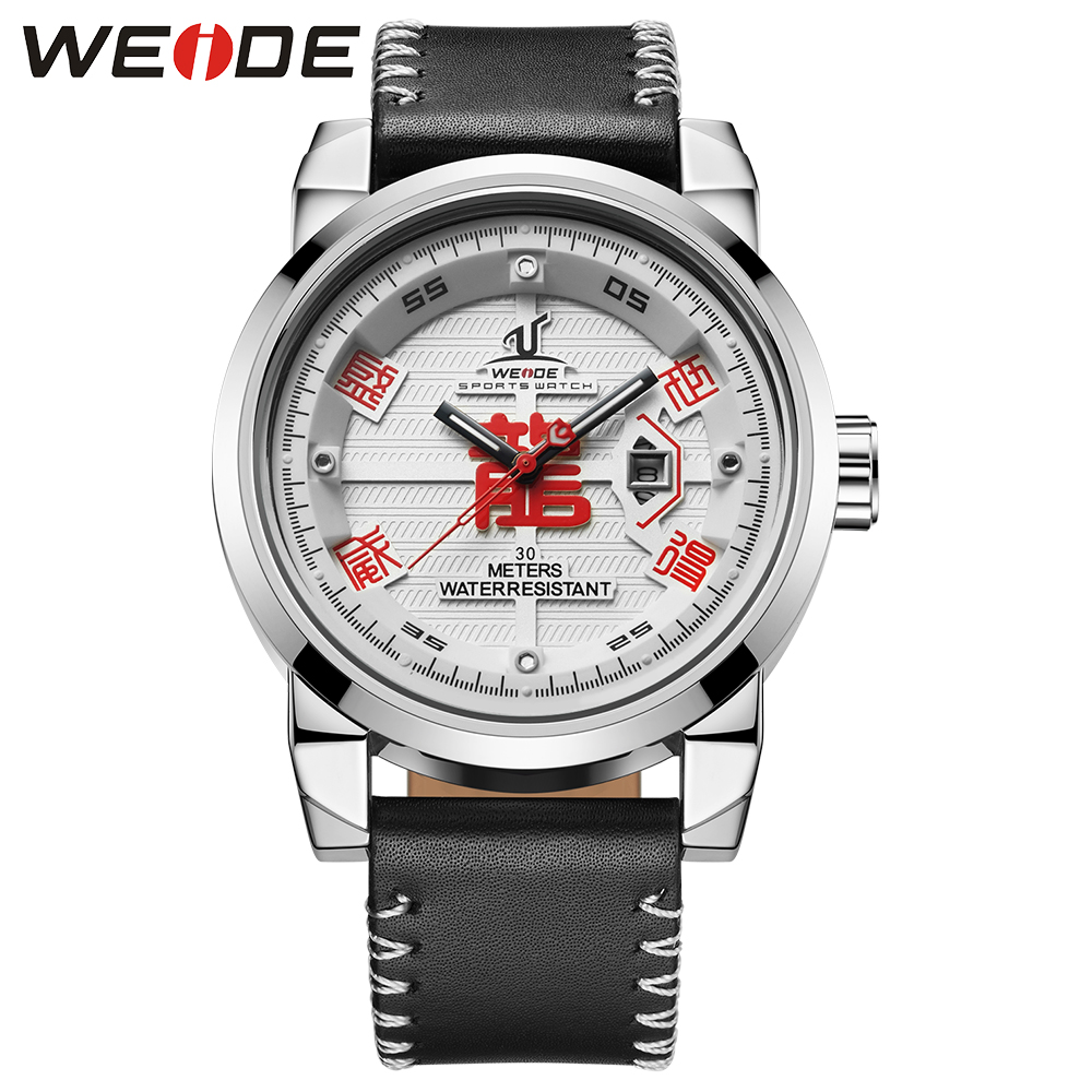 WEIDE Men Sport Watches Relogio Masculino Analog Auto Date Calendar Dial Display White Dial Leather Strap Buckle For Men weide men watches clock analog quartz movement calendar date black leather strap band buckle hardlex wristwatches for sport