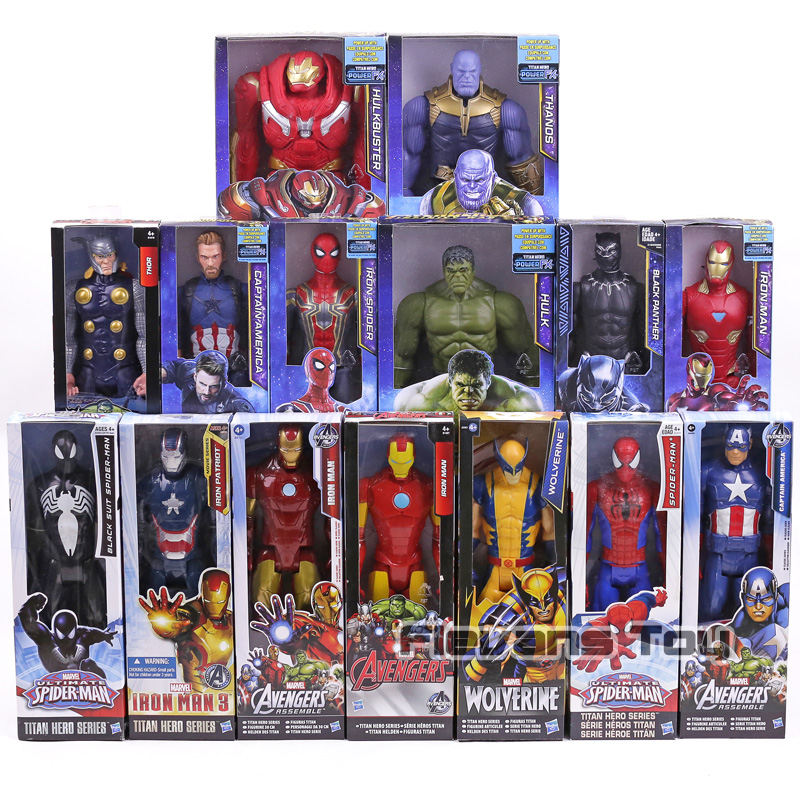 "Marvel Super Heroes Avengers Thanos Schwarz Panther Captain America Thor Iron Man Spiderman Hulkbuster Hulk Action Figur 12 ""30 cm"