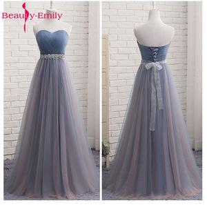Image 2 - Beauty Emily High Quality Tulle Long Short Bridesmaid Dresses Elegant Formal A line Vintage Party Prom Dresses Off the Shoulder