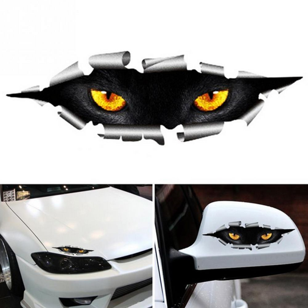 33.4руб. 18% СКИДКА|Крутой 3D автомобильный Стайлинг Забавный кошачий глаз, стикер для автомобиля, водонепроницаемые, с монстром, автомобильные аксессуары, чехол для всего тела для всех автомобилей|Наклейки на автомобиль| |  - AliExpress