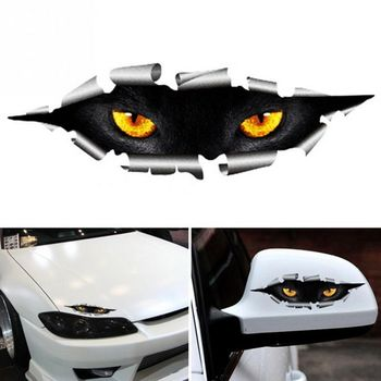 Cool 3D Car Styling Funny Cat Eyes Peeking Car Sticker Waterproof Peeking Monster Auto Accessories Whole Body Cover for All Cars image