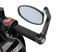 7 8 CNC Aluminum Rear Side Mirror Handle Bar End Oval Black For Motorcycle Bike