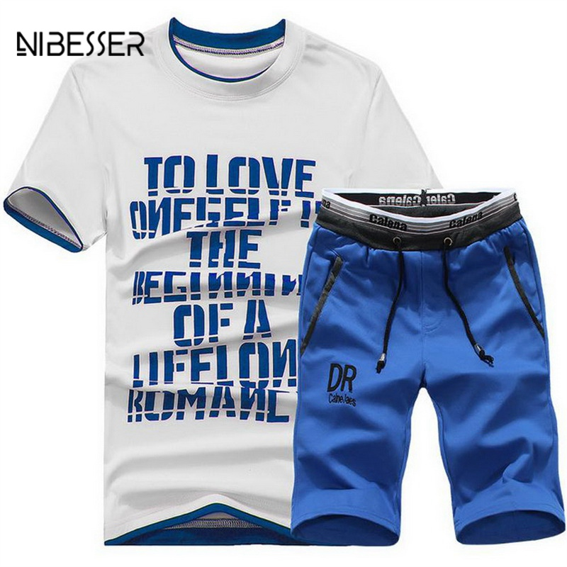 NIBESSER Men Tracksuit Letter Printed Male Fitness Suit 2018 New Mens T Shirt Short Sleeve+ Short Pants Track Suit For Male Tee ...