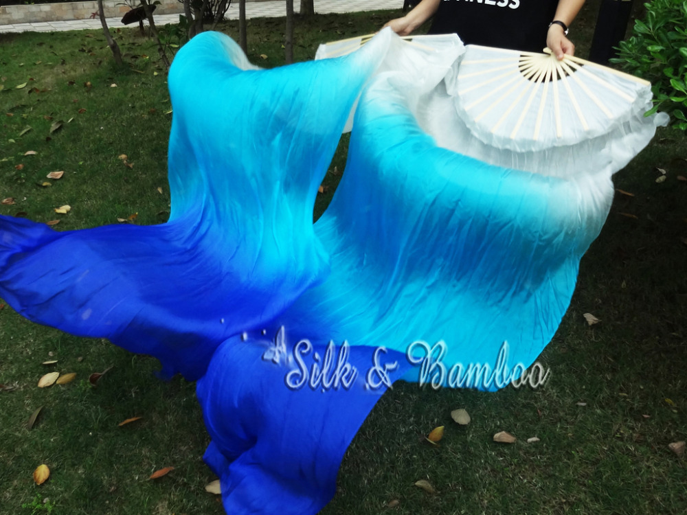 "Pastel turquoise-blue-pink 59/""x35/"" pastel color belly dance silk fan veils"