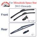 Kit dianteiro e traseiro de borracha de silicone wiper blades para mitsubishi space star 2013 2014 2015 2016, brisas limpadores de carro acessórios