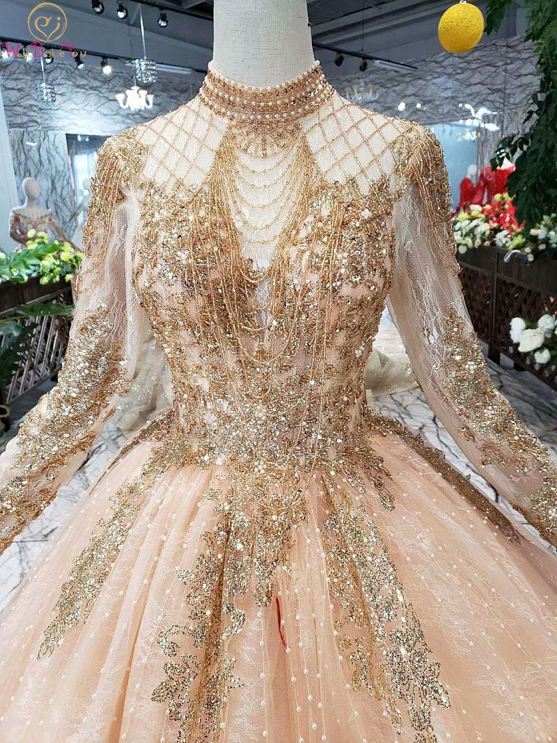Full Sleeves Prom Dresses Luxury Muslim Pink High Neck Lace Beading Pearl Ball Gown 2019 Evening Formal Party Walk Beside You