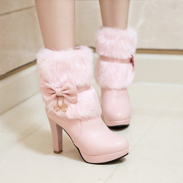 Women Boots Autumn Winter Warm Fur 2018 New Sexy Fashion Pu Mid-calf Motorcycle Snow Boots Black Pink White High-heeled Shoes