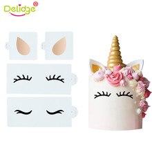 Delidge 3PCS /set Unicorn Ear&Eye Silicone Fondant