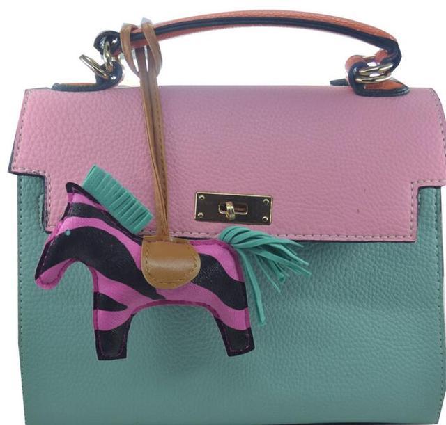 Black Pink Zebra Print Leather Horse Keychains Handbag Pendant Bag Accessories Purse Charm