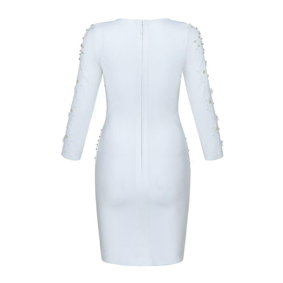À Longues Discothèque Party Perles cou Moulante Robe Celebrity Mode Date O Femmes Sexy Blanc Robes Bandage Manches De zaCEqxP