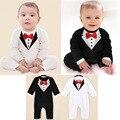 Розничная Симпатичные младенческой джентльмен хлопок комбинезоны одежда мода мальчиков с длинным рукавом комбинезон дети Красный галстук-бабочка одежда ползунки