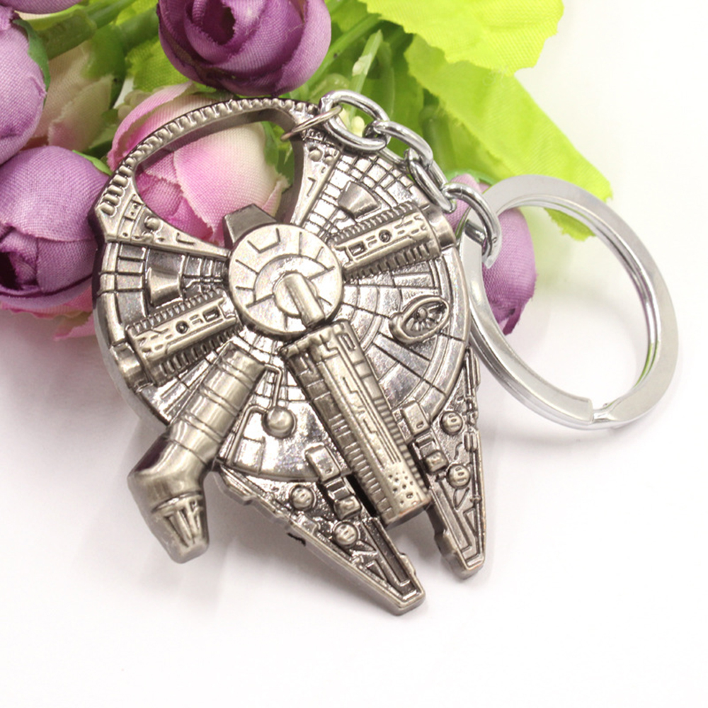 Fashion Beer Opener Keychain Euro-American Movie Star Wars Key Chain Metal Bottle Opener Spaceship Silver Metal Pendant KC1197