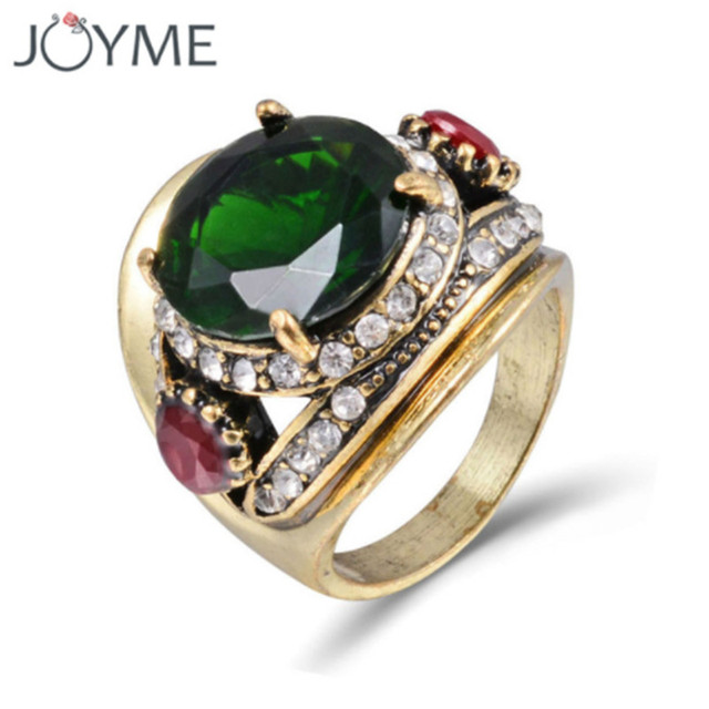 Wedding Rings Vintage Jewelry Austria Green Big Crystal Stone Ring