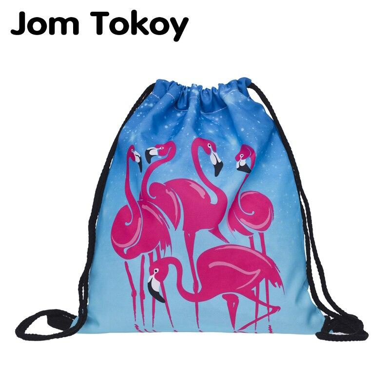 2019 New Fashion Women Flamingo Backpack 3D Printing Travel Softback Women Mochila Drawstring Bag