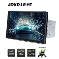 ARKRIGHT 10'' 2 Din 4+64GB PX5 Octa Cores Android 8.1 Universal car radio/Head Unit/autoraio Wifi GPS Multimedia Player with DSP