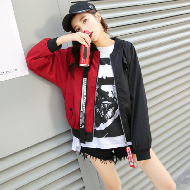 ROPALIA Patchwork Casual Bomber Jacket Color Block Women Two Tone Patch Back Autumn Jackets Letter Ribbon Zip Up Jacket