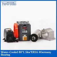 1.5KW su soğutmalı mil motoru ER16 4 rulmanlar 80x220mm ve 1.5kw VFD / Inverter & 80mm mili braketi ve 80w su pompası
