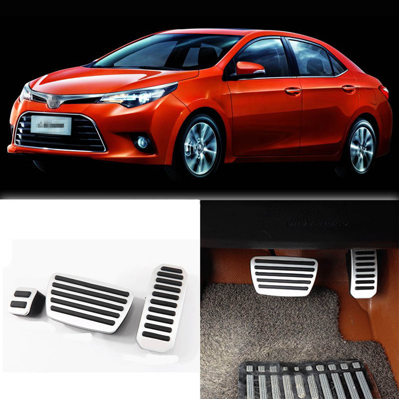 Brand New 3pcs Aluminium Non Slip Foot Rest Fuel Gas Brake Pedal Cover For Toyota Levin AT 2014-2016 brand new 3pcs aluminium non slip foot rest fuel gas brake pedal cover for vw touran at 2008 2015