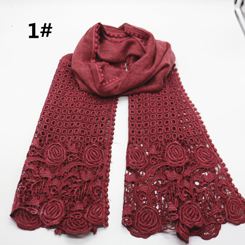 High quality flower print lace scarf fashion soft viscose cotton shawl Scarf Muslim hijabs scarf independence