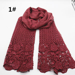 Image 1 - High quality flower print lace scarf fashion soft viscose cotton shawl Scarf Muslim hijabs scarf independence packing 10pcs/lot