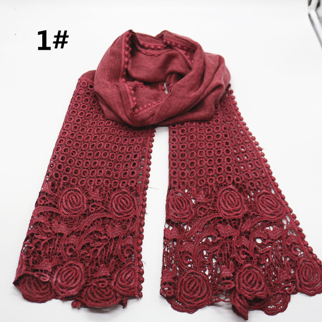 High quality flower print lace scarf fashion soft viscose cotton shawl Scarf Muslim hijabs scarf independence packing 10pcs/lot