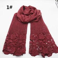 高品質フラワープリントレーススカーフファッションソフトビスコース綿ショールスカーフイスラム教徒 hijabs スカーフ独立パッキング 10 ピース/ロット