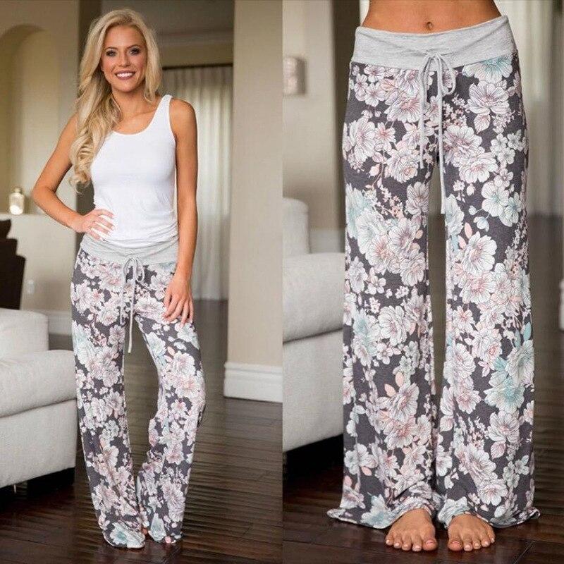 Multi Colors Sleep Bottoms Women Floral Print Pants Trousers Drawstring Wide Legs Loose Knitted Pajama Pants Pijamas B86792