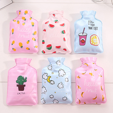 050 Mini Cute Hot Water Bag Bottle Container Handy Pearl Finished Fabrics Water-filled Type Warm Hand Treasure 10.5*15.5cm