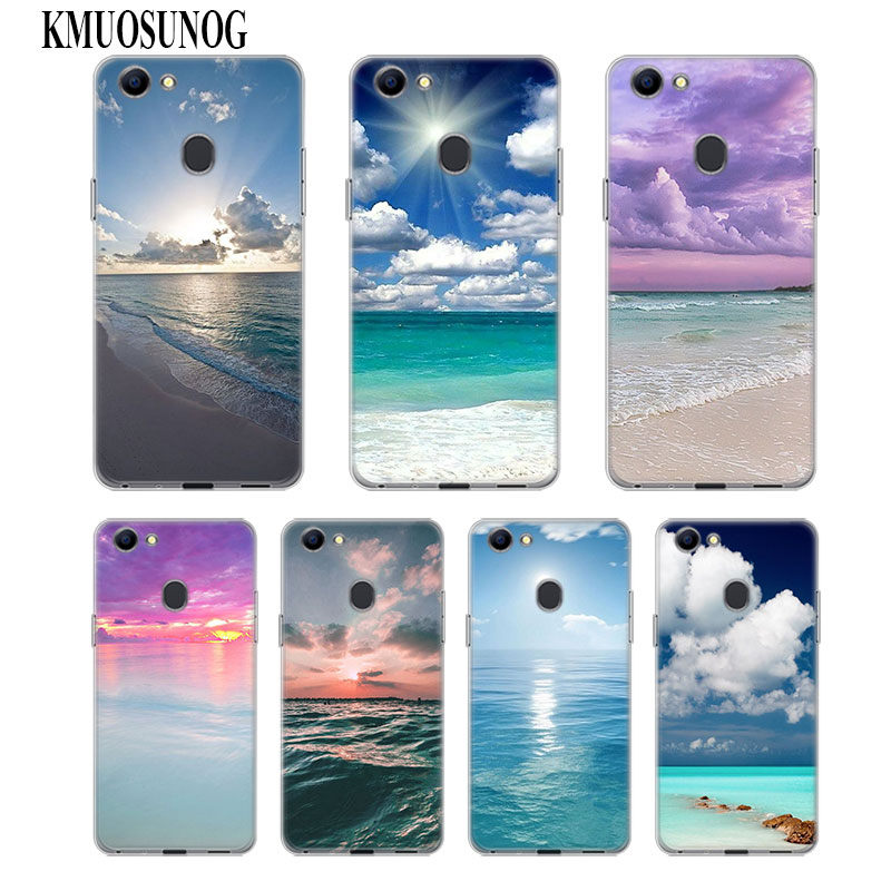 Transparent Soft Silicone Phone Case Sea Sky beach for OPPO F5 F7 F9 A5 A7 R9S R15 R17 Cover
