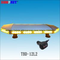 TBD 12L2 DC12V/24V 64W Led Mini lightbar/Heavy magnetic base/amber warning lightbar/Flashing warning lights/18 flash pattern