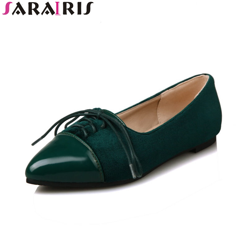 SARAIRIS 2018 Spring Autumn Hot Sale Shallow Flats Women lace-up Patchwork Shallow Shoes Woman Big Size 34-43 Casual Shoes hot sale spring autumn handmade flats