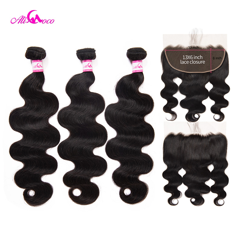 Ali Coco Brazilian Body Wave 3 Bundles With 13 6 Frontal Closure 8 28 Inch Natural