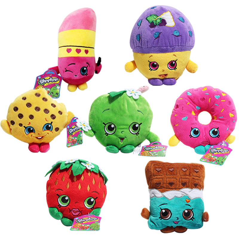1pcs 17-25cm 7 styles Fruit Plush Toys Strawberry Apple Cookies Donuts Lipstick Chocolate Cookie Toys for Girl Dolls & Stuffed